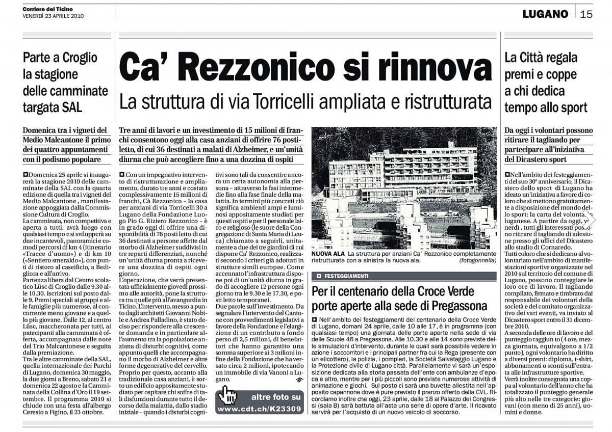 Corriere del Ticino del 23.04.2010